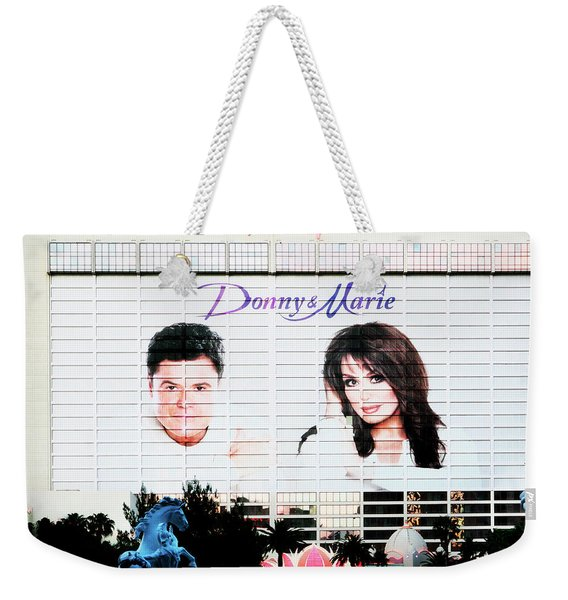 Donny And Marie Osmond Large Ad On Hotel Weekender Tote Bag