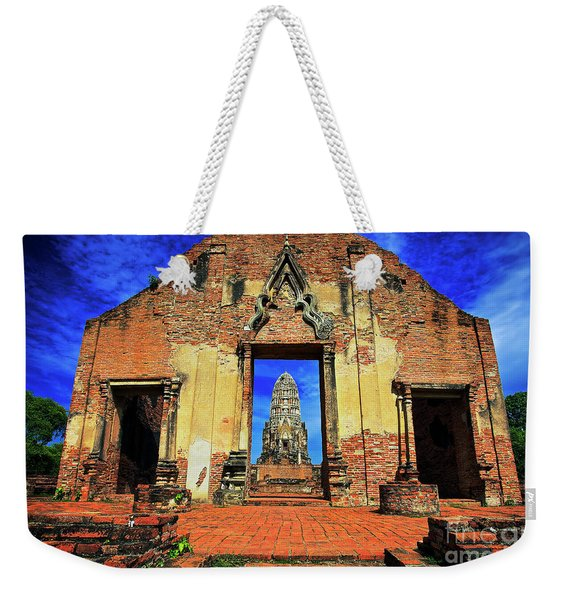 Weekender Tote Bag featuring the photograph Doorway To Wat Ratburana In Ayutthaya, Thailand by Sam Antonio Photography