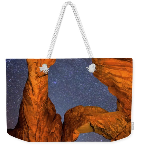 Double Arch At Night Weekender Tote Bag