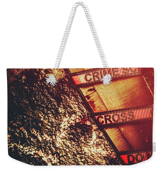 Double Crossing Crime Scene Investigation Weekender Tote Bag