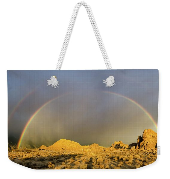Double Rainbow Gold Weekender Tote Bag