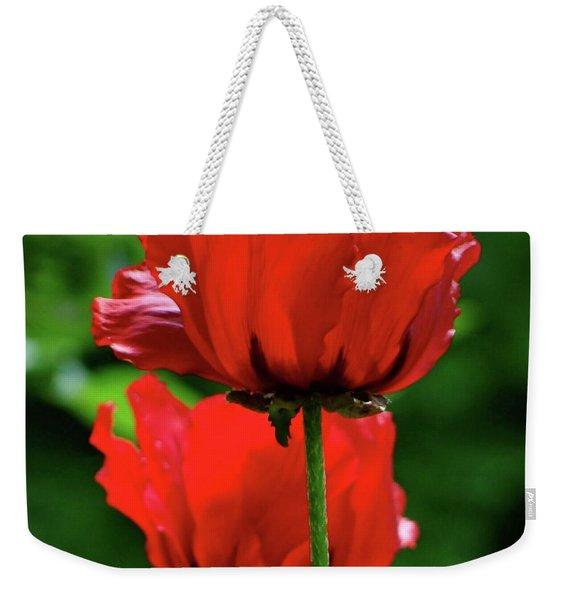 Double Red Poppies Weekender Tote Bag