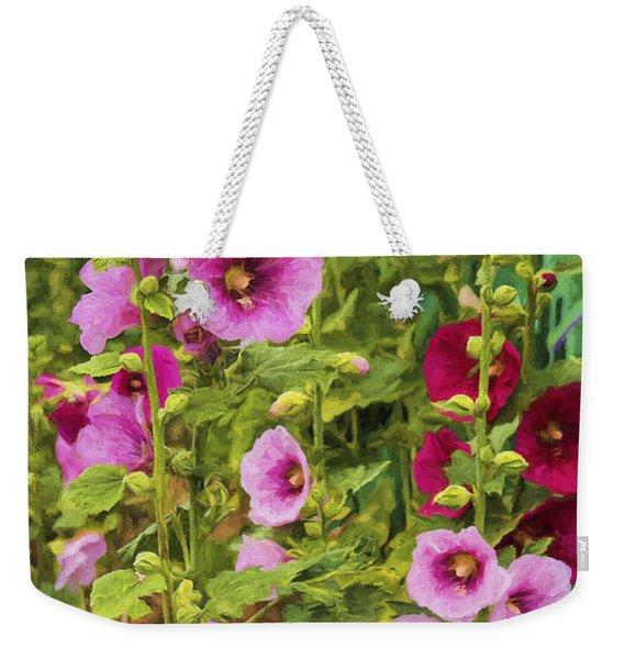 Double Take Hollyhocks  Weekender Tote Bag