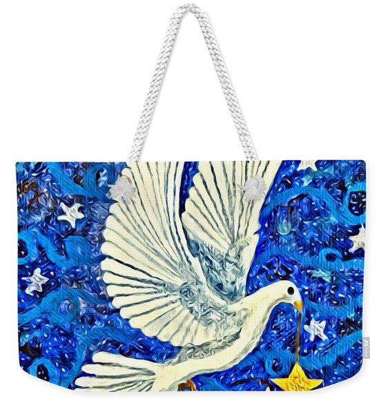Dove With Star Weekender Tote Bag