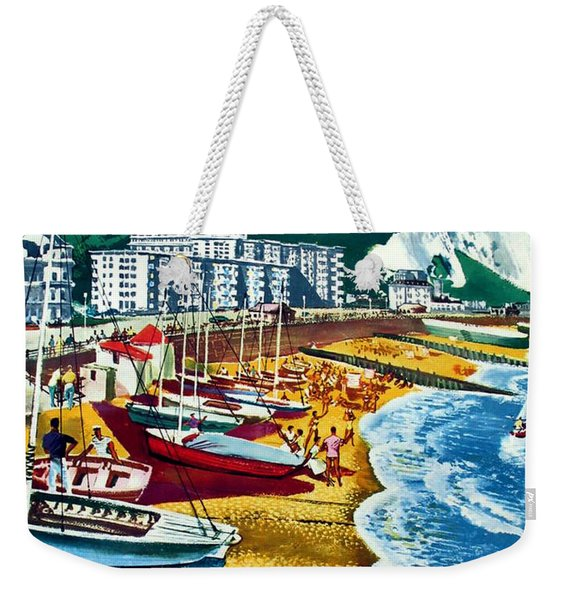 Dover, Fishing Boats On The Coast, Travel Poster Weekender Tote Bag