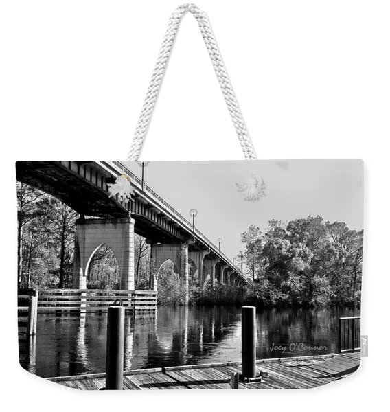 Down By The Bridge Black And White Weekender Tote Bag