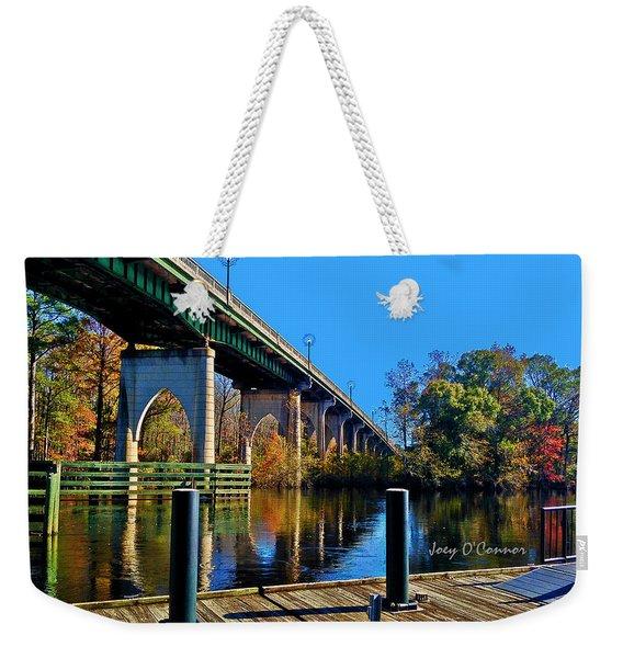 Down By The Bridge In Fall Weekender Tote Bag