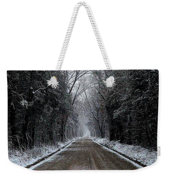 Down The Winter Road Weekender Tote Bag