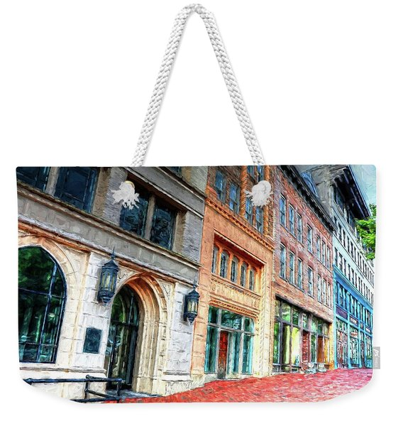 Downtown Asheville City Street Scene II Painted Weekender Tote Bag