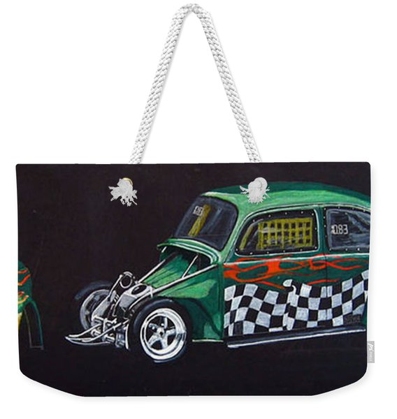 Weekender Tote Bag featuring the painting Drag Racing Vw by Richard Le Page