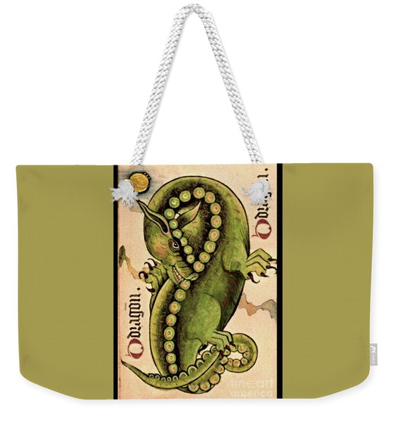 Weekender Tote Bag featuring the painting Dragon Dragon by Lora Serra