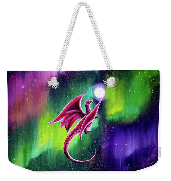 Dragon Soaring Through The Northern Lights Weekender Tote Bag