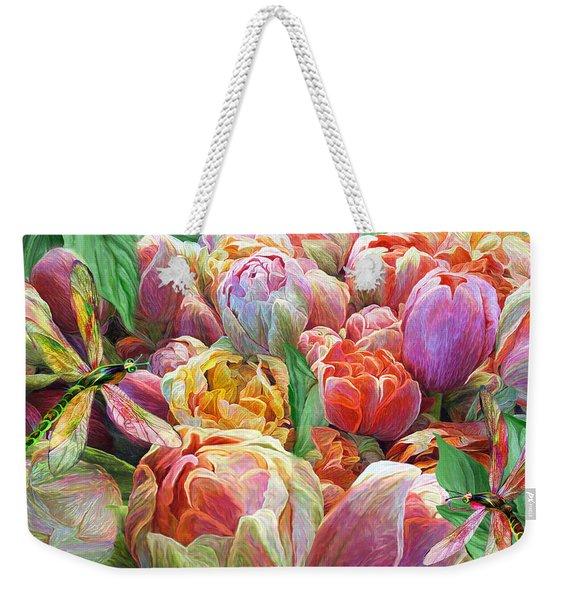 Dragonflies And Tulips Weekender Tote Bag