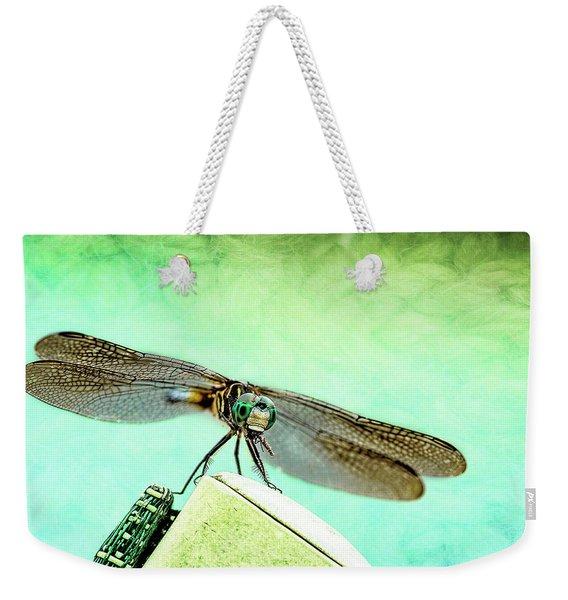 Dragonfly Eating His Bug Weekender Tote Bag