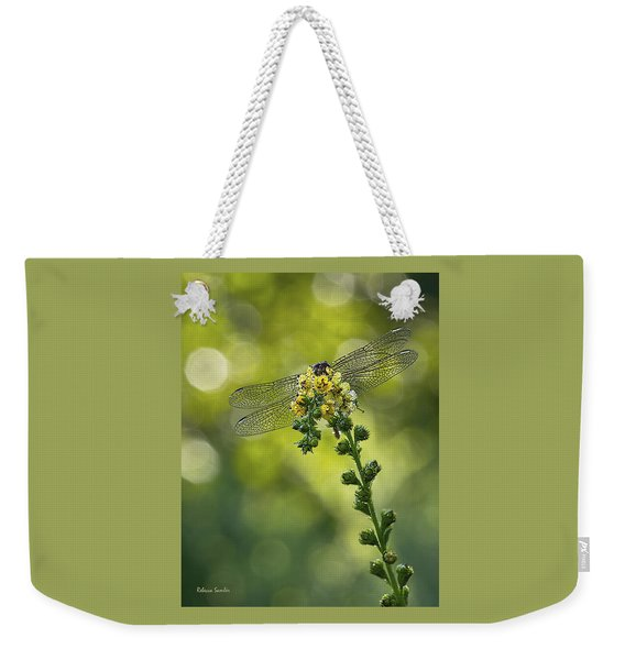 Dragonfly Flower Weekender Tote Bag