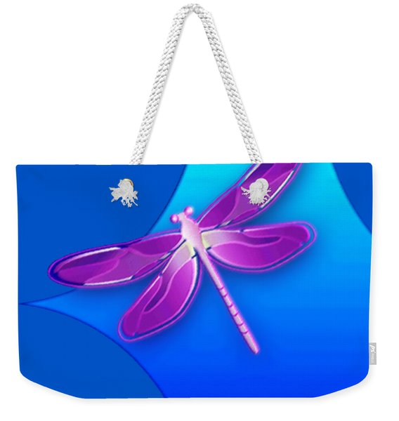 Weekender Tote Bag featuring the digital art Dragonfly Pink On Blue by Deleas Kilgore