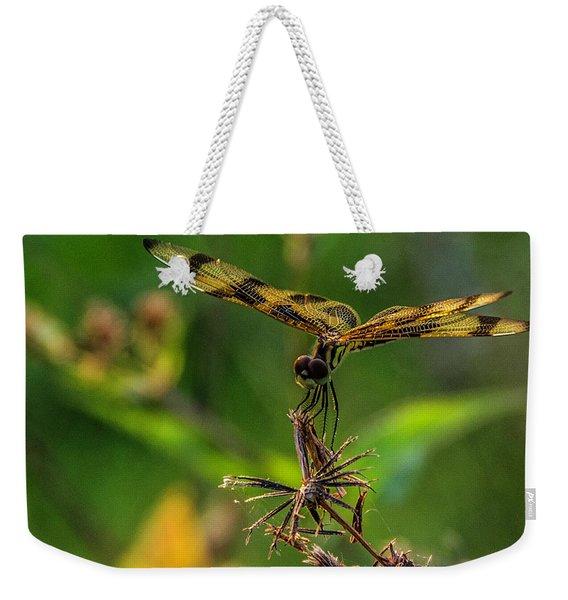 Dragonfly Resting On Flower Weekender Tote Bag