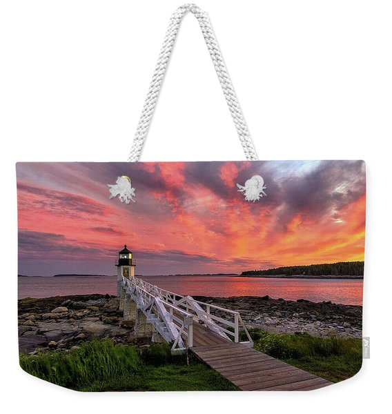 Dramatic Sunset At Marshall Point Lighthouse Weekender Tote Bag