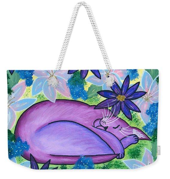 Dreaming Sleeping Purple Cat Weekender Tote Bag