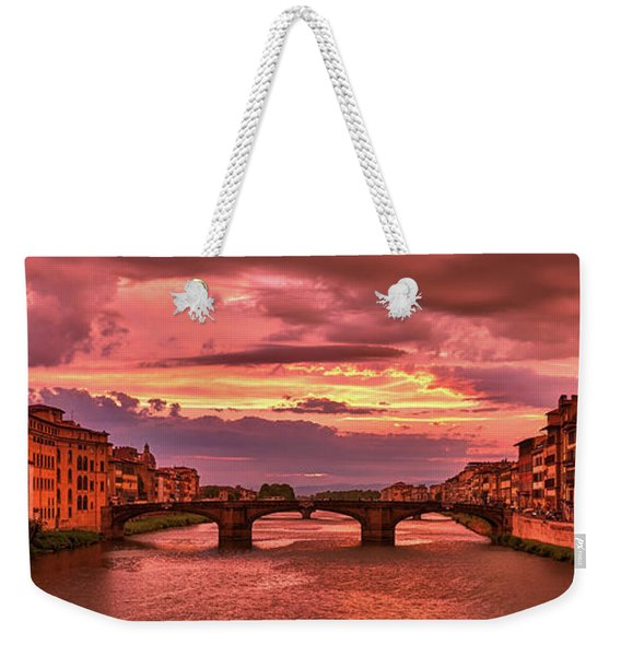 Saint Trinity Bridge From Ponte Vecchio At Red Sunset In Florence, Italy Weekender Tote Bag