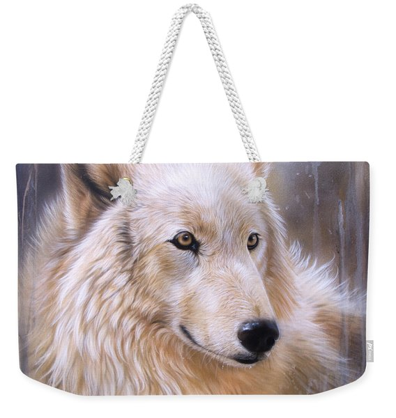 Weekender Tote Bag featuring the painting Dreamscape - Wolf II by Sandi Baker