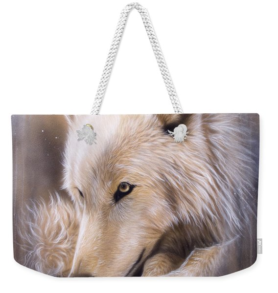 Weekender Tote Bag featuring the painting Dreamscape - Wolf by Sandi Baker