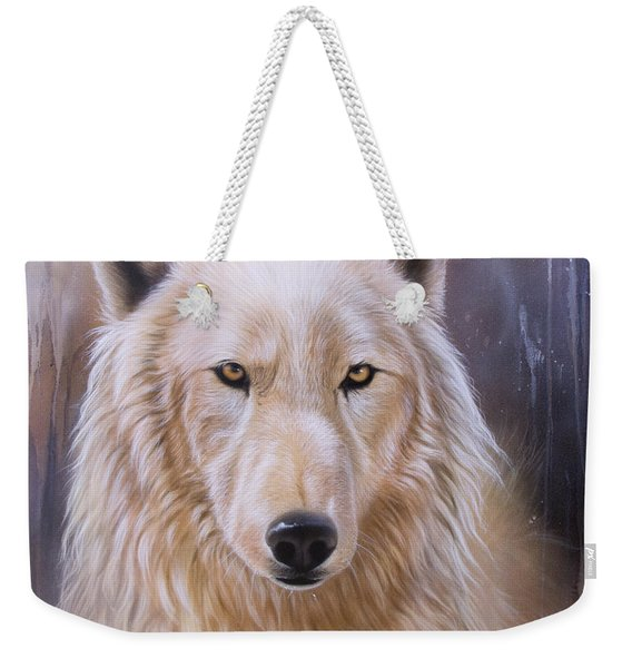 Weekender Tote Bag featuring the painting Dreamscape Wolf IIi by Sandi Baker