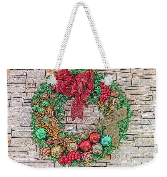 Dreamy Holiday Wreath Weekender Tote Bag