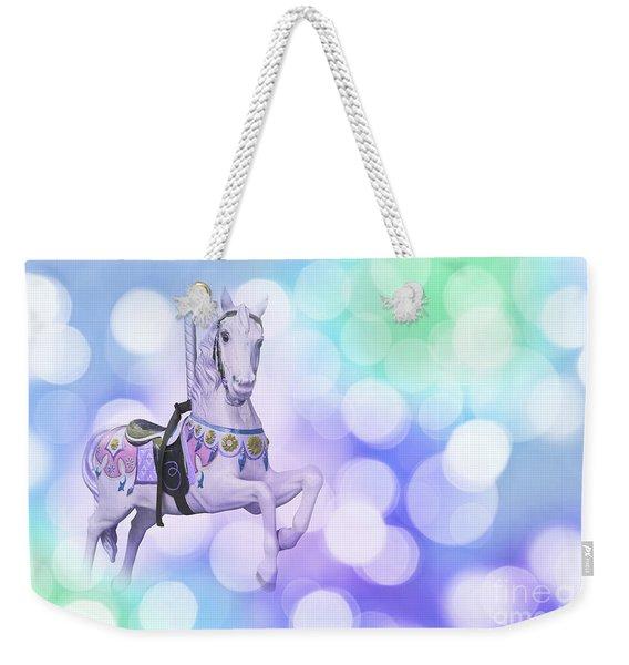 Dreamy Pastel Blue Carousel Horse Weekender Tote Bag