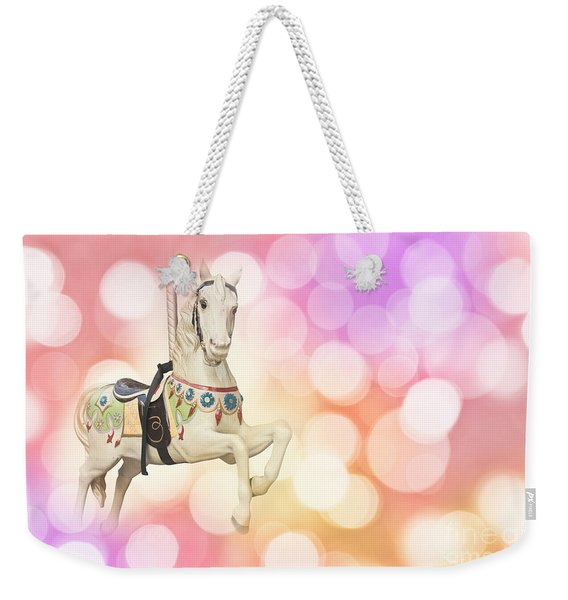 Dreamy Pastel Pink Carousel Horse. Weekender Tote Bag