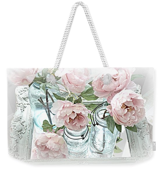 Dreamy Shabby Chic Peonies Vintage Mason Jars Romantic Cottage Floral Decor Weekender Tote Bag