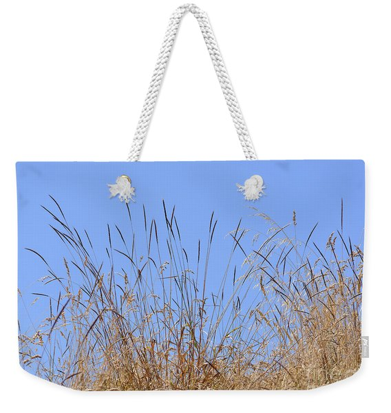 Dried Grass Blue Sky Weekender Tote Bag