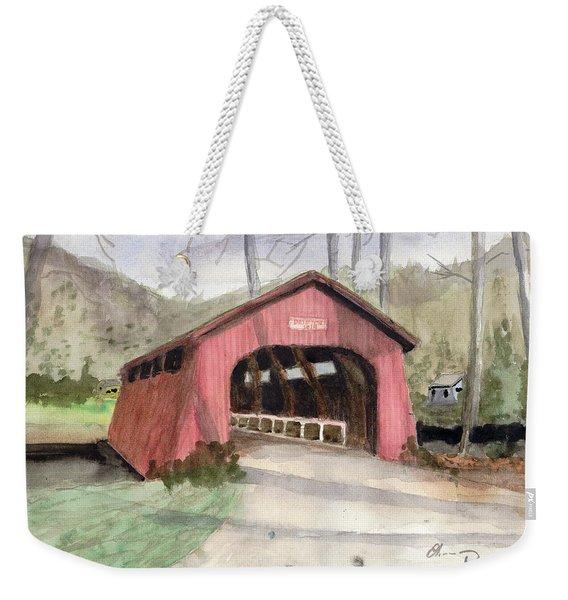 Drift Creek Covered Bridge Watercolor Weekender Tote Bag