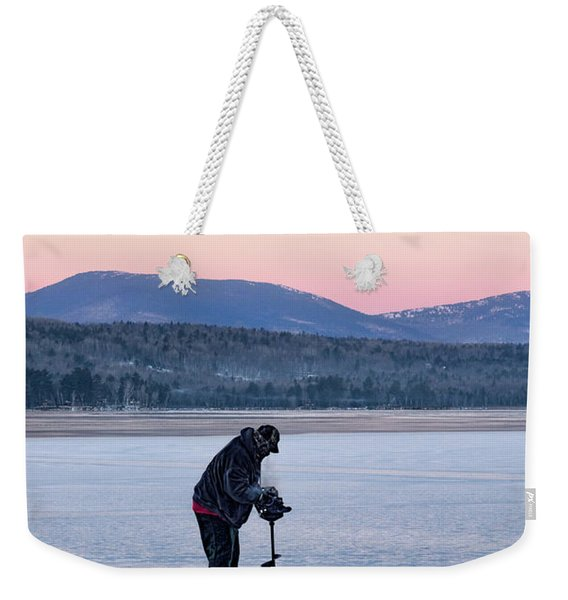 Weekender Tote Bag featuring the photograph Drilling Ice On Wilson Lake, Wilton, Maine  -88115 by John Bald