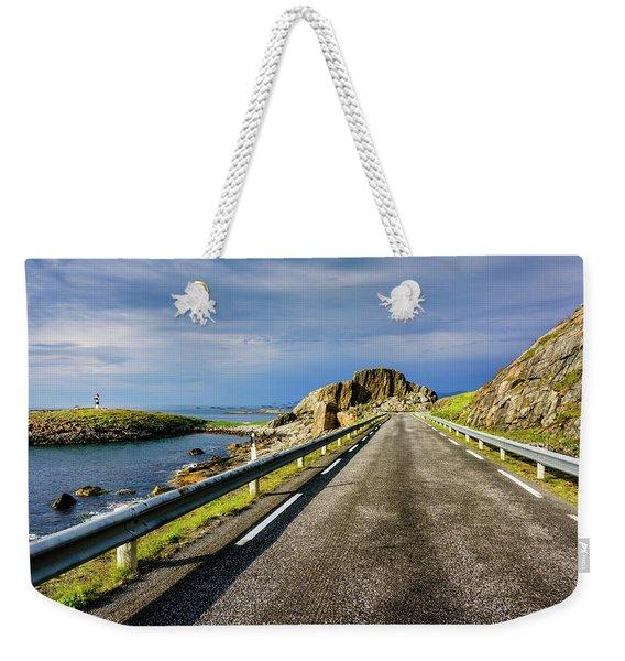 Driving Along The Norwegian Sea Weekender Tote Bag