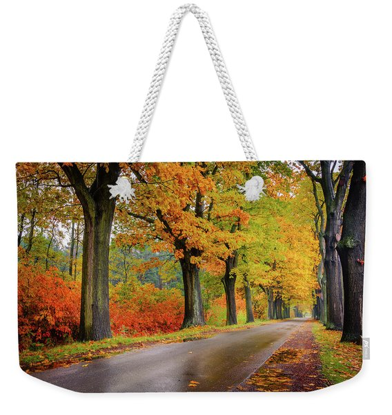Weekender Tote Bag featuring the photograph Driving On The Autumn Roads by Dmytro Korol