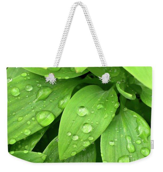 Drops On Leaves Weekender Tote Bag