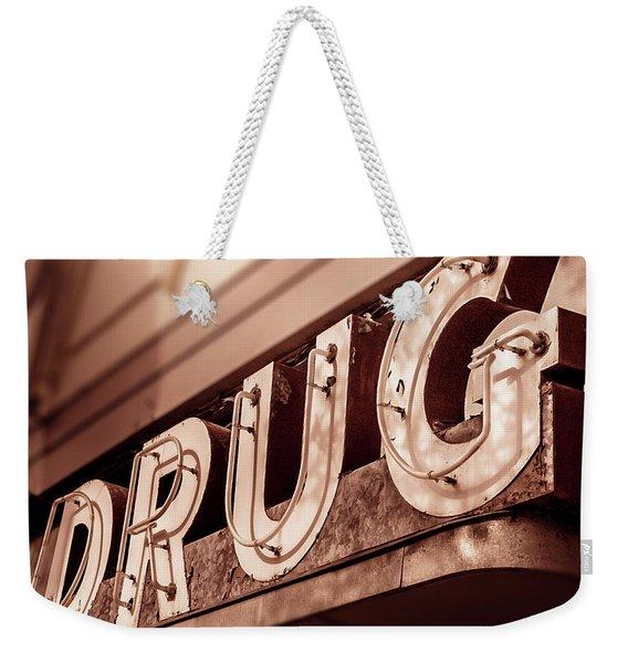 Drug Store Sign - Vintage Downtown Pharmacy Weekender Tote Bag