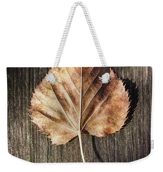 Dry Leaf On Wood Weekender Tote Bag