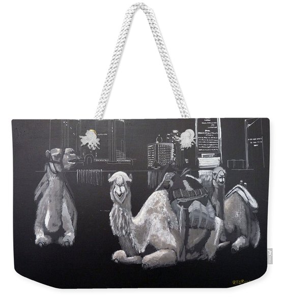Weekender Tote Bag featuring the painting Dubai Camels by Richard Le Page