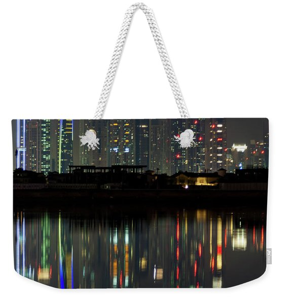 Dubai City Skyline Nighttime  Weekender Tote Bag