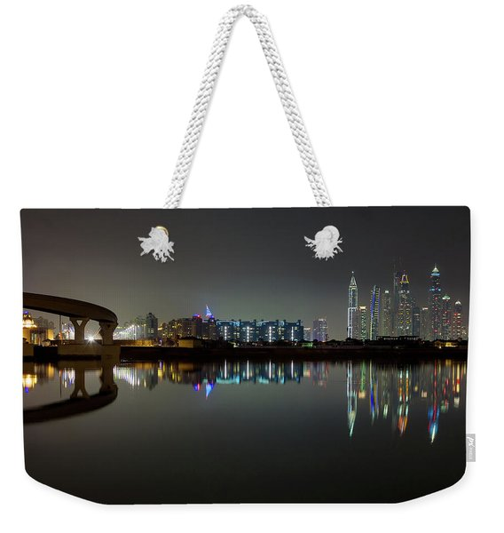 Dubai City Skyline Night Time Reflection Weekender Tote Bag