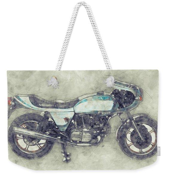 Ducati Supersport 1 - Sports Bike - 1975 - Motorcycle Poster - Automotive Art Weekender Tote Bag