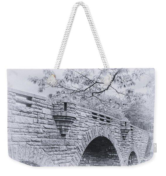Duck Brook Bridge In Black And White Weekender Tote Bag