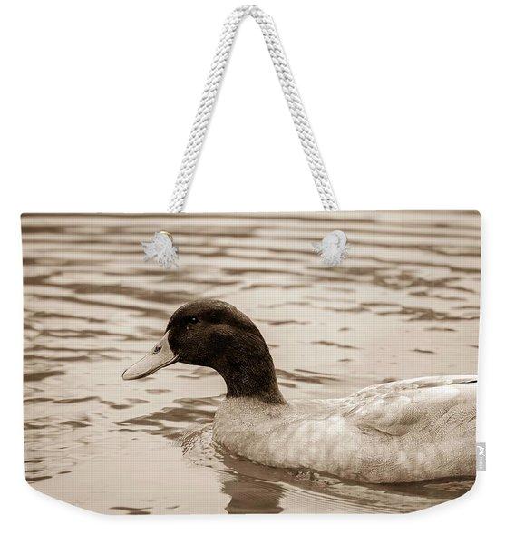 Duck In Pond Weekender Tote Bag