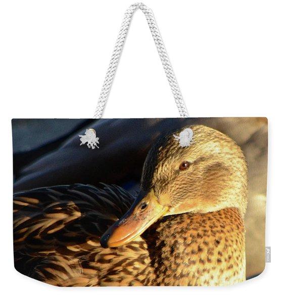 Duck Sunbathing Weekender Tote Bag