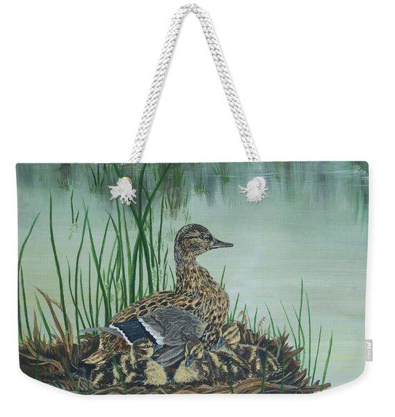 Ducks In Lifting Fog Weekender Tote Bag