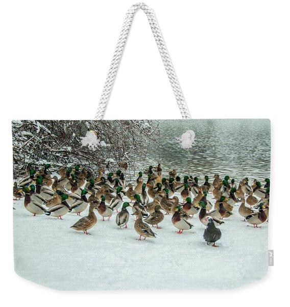 Ducks Pond In Winter Weekender Tote Bag