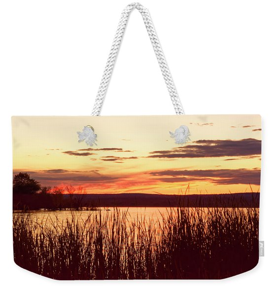 dusk on Lake Superior Weekender Tote Bag