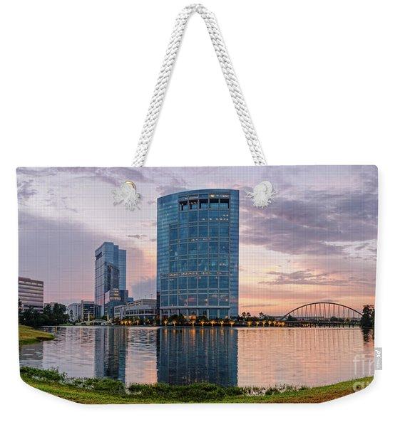 Dusk Panorama Of The Woodlands Waterway And Anadarko Petroleum Towers - The Woodlands Texas Weekender Tote Bag